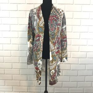 Chico's Floral Pasley Print Cardigan Top